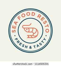 Seafood shrimp for restaurant line logo design. Vector icon illustration modern simple line logo