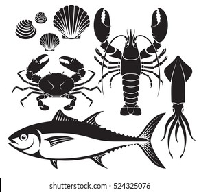 Seafood silhouette set. Lobster prawn, crab, tuna fish, shellfish and squid. Vector Illustrations.