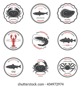 Seafood silhouettes, labels, emblems. Set of templates for stores, markets, food packaging. Vector illustration.