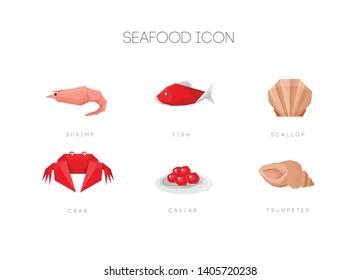 Seafood simple polygonal set icon