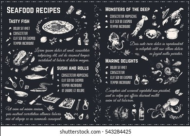 Seafood sketches. isolated vector chalk on blackboard. design 4 restaurant menu, cookbooks & wrapping paper. Doodle icons - fish, sushi, steak, lobster