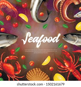 Seafood Square Banner with Copy Space. Various Sea Animals, Fresh Products Frame, Border Design. Salmon, Mussels, Octopus, Crab, Fish, Crayfish, Scallop, Lemon, Tomato Realistic 3d Vector Illustration