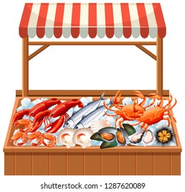 A seafood stall on white background illustration