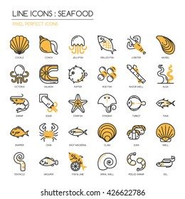Seafood  , Thin Line and Pixel Perfect Icons