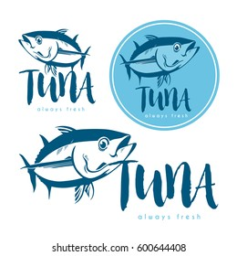Seafood tuna products tags and emblems. Vector icons for product, company, restaurant label.