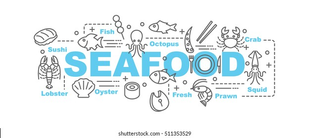 seafood vector banner design concept, flat style with thin line art seafood icons on white background