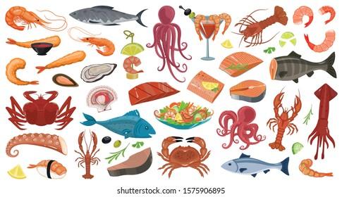 Seafood vector cartoon set icon.Vector illustration icon fish food on white background.Isolated cartoon set seafood.