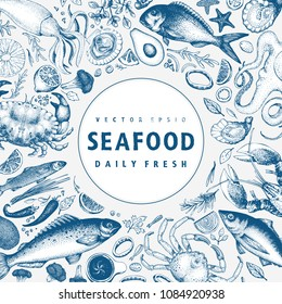 Seafood vector frame illustration. Can be use for restaurants menu, cover, packaging. Retro hand drawn banner template. Vintage background.