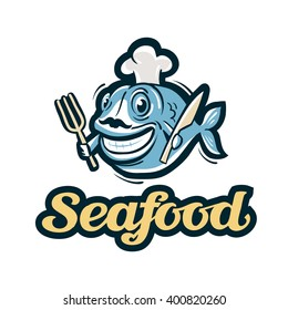 seafood vector logo. fish, fishing or restaurant icon
