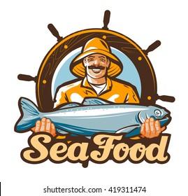 seafood vector logo. fishing or fresh fish icon