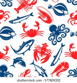 Seafood vector seamless pattern of fish and crab, shrimp and flounder, tuna and salmon, squid, herring and octopus. Tile design for restaurant or fish food cuisine or industry or market shop