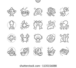 Seafood Well-crafted Pixel Perfect Vector Thin Line Icons 30 2x Grid for Web Graphics and Apps. Simple Minimal Pictogram