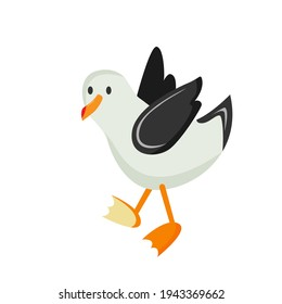 seagull. beach sea albatross. stock vector illustration of a bird on a white background.