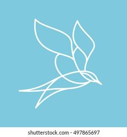 Seagull bird logo vector character. Animal design elements for sport team branding, T-shirt, label, badge, card or illustration.