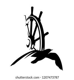 seagull bird and ship steering wheel - nautical theme black vector design
