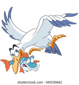 Seagull carrying a fish. Cartoon character isolated on white background. Colorful design for kids activity book, coloring page, colouring picture. Vector illustration for children.