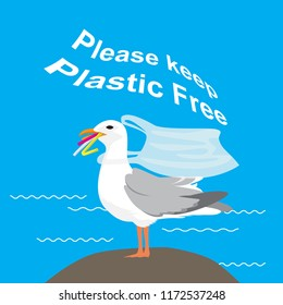 """Seagull eating plastic straws with plastic bag necklace. """"Plastic pollution"""" Vector illustation"""