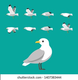 Seagull Flying Animation Sequence Cartoon Vector