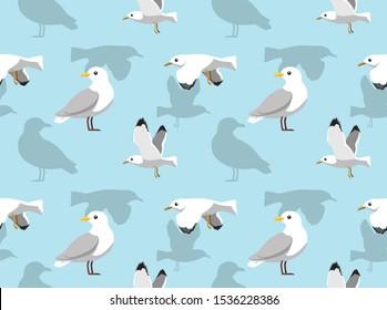 Seagull Flying Cartoon Seamless Background Wallpaper-01