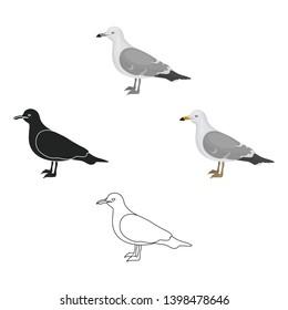 Seagull icon in cartoon,black style isolated on white background. Bird symbol stock vector illustration.