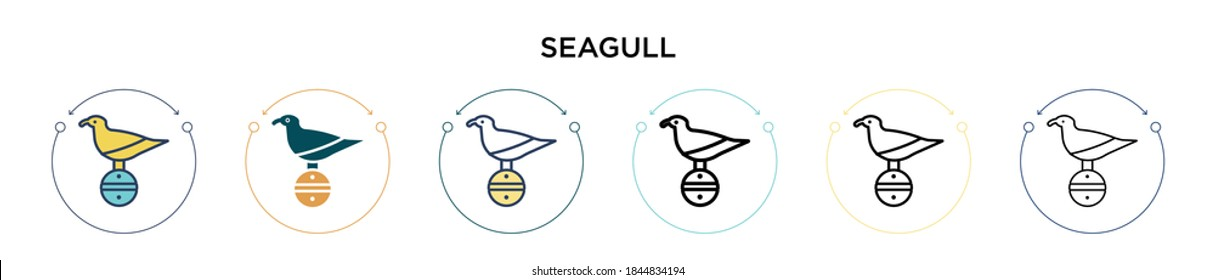 Seagull icon in filled, thin line, outline and stroke style. Vector illustration of two colored and black seagull vector icons designs can be used for mobile, ui, web