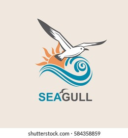 Seagull icon with sea waves. Vector illustration