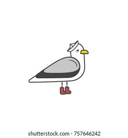 Seagull in newspaper hat vector illustration