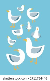 Seagulls, flat vector illustration set, Cute simple pattern with childish stylized nautical seafowl. Sticker collection, Doodle. Modern, Isolated white birds with grey wings on a light blue background