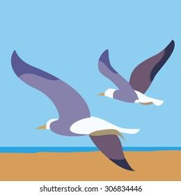 Seagulls on a beach at summer time vector
