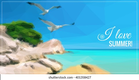 Seagulls over sea shore in Northern Greece. Low poly vector background for your leaflet or web page. Text