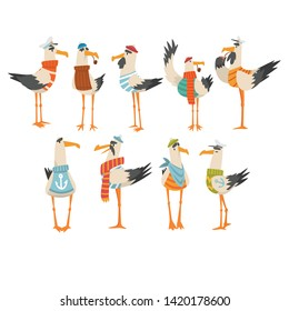 Seagulls Sailors Set, Funny Birds Cartoon Characters Vector Illustration