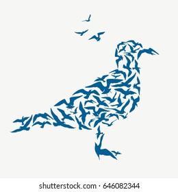 Seagulls silhouette. Abstract bird.