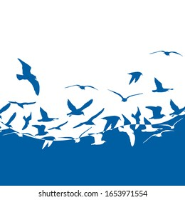 Seagulls silhouette in the sea. Abstraction. Vector illustration