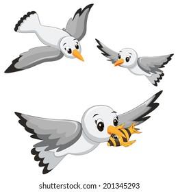 Seagulls Vector Illustrations