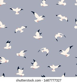 Seagulls vector seamless pattern.  Cute hand drawn pattern for kids on blue background. Cartoon childish seagull for wrapping paper, fabric, textile, wallpaper, home decor