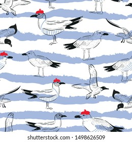 seagulls waves vector seamless pattern. Concept for print, web design, cards, textile