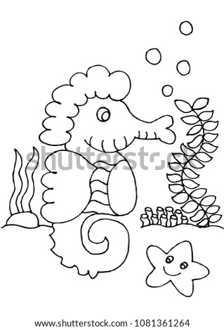 Seahorse Coloring Page Stock Vector Royalty Free 1081361264