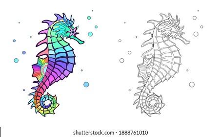 Seahorse coloring page. Vector Illustration.