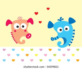 seahorse couple doodle in love