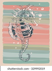 Seahorse. Hand drawn vector illustration.