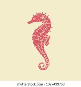 Seahorse illustration. Flat vector icon in retro style