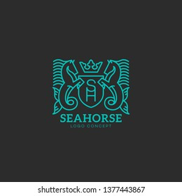 Seahorse logo design template in linear style. Vector illustration.