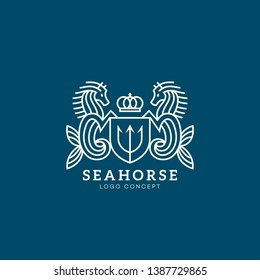 Seahorse logo design template with shield and crown. Vector illustration.
