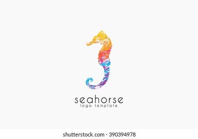 Seahorse logo. Sea logo. Water logo. Ocean logo. Beautiful logo. Colorful logo design. Creative logo