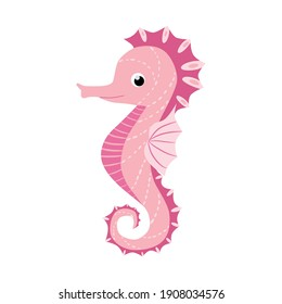 Seahorse, Scandinavian style hippocampus, hand drawn, beautiful detailed pink