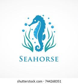 seahorse with seaweed logo