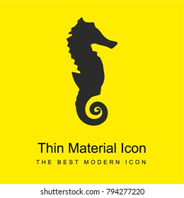 Seahorse silhouette bright yellow material minimal icon or logo design