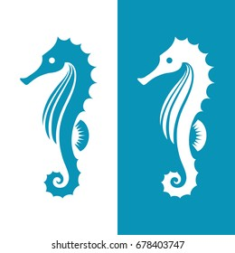 Seahorse silhouette isolated on white and blue backgrounds. Marine, sea, ocean, underwater life symbol, icon, logo, tattoo.