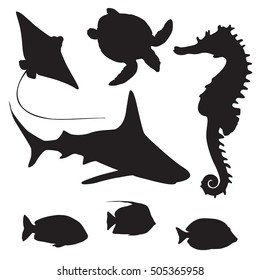 Seahorse, turtle, shark,fish and stingray silhouette