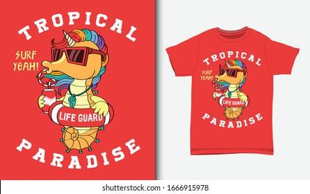seahorse unicorn the lifeguard illustration, with t-shirt design, Hand drawn